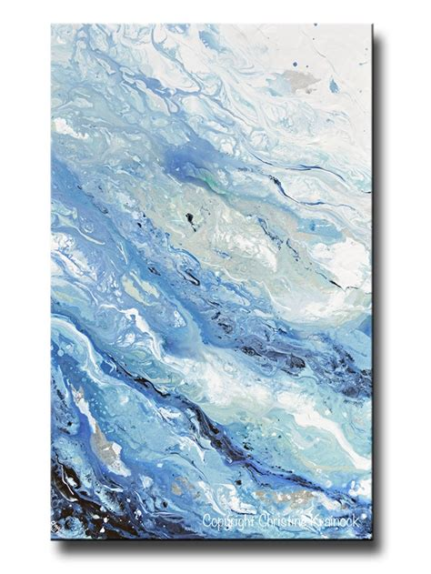 Giclee Print Art Abstract Painting Blue White Marbled