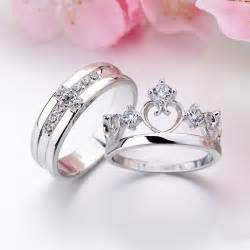 wedding ring pair aliexpress buy pair white gold filled 925 silver wedding rings set his and promise