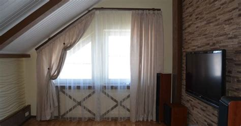 shaped window in living room curtains