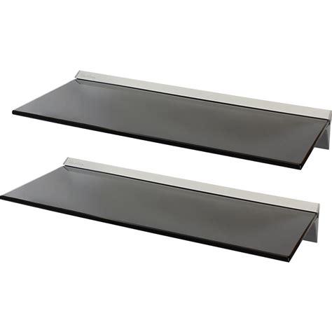 Hartleys Pair2x 60cm Black Floating Glass Wall Shelves