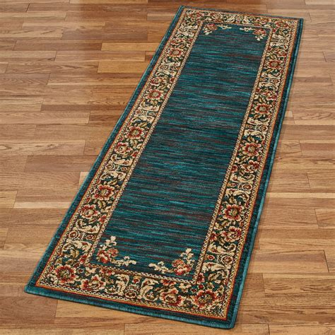 And Teal Rug by Florian Border Jacobean Floral Teal Rug Runner