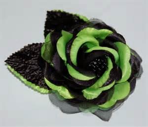 alligator for hair lime green black flower hair clip sash clip or