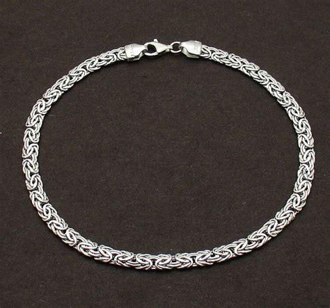mm byzantine anklet ankle bracelet real  white gold