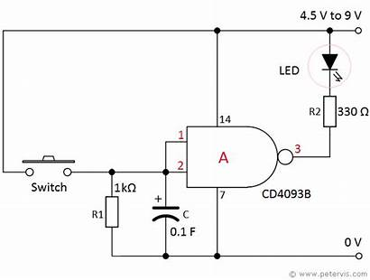 Delay Timer Gate Nand Circuit Led Electronic