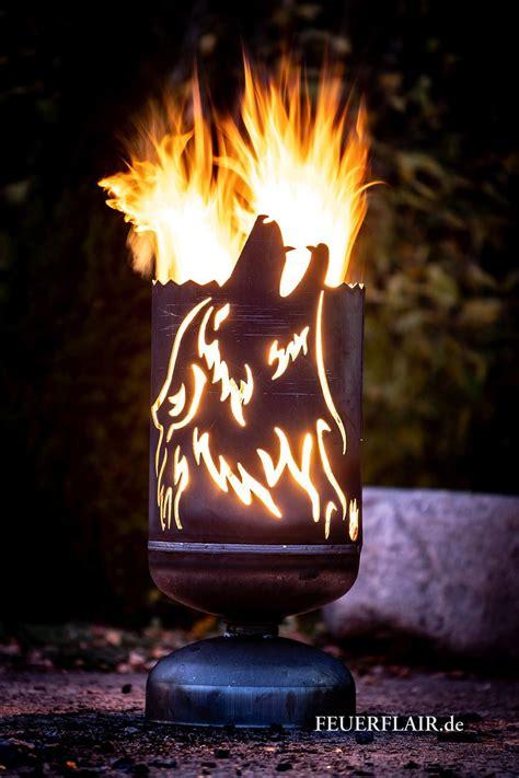 feuerkorb heulender wolf gasflasche   craft fire pit designs diy fire pit und outdoor