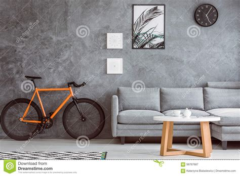 orange bike  living room stock image image  home