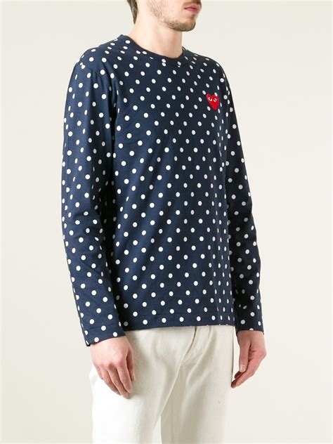 Polka Dot Sleeve T Shirt lyst comme des gar 231 ons polka dot sleeve t shirt in