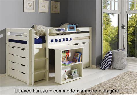 bureau lit lit enfant combiné bureau et rangement theo en pin massif