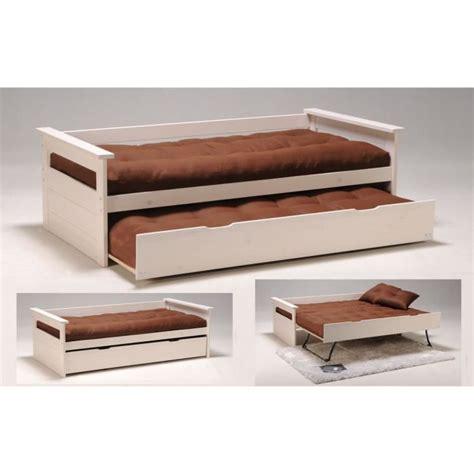 canap lit tiroir artus banquette gigogne 90 x 190 cm blanchi achat