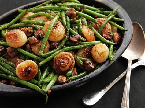 best ever green bean thanksgiving recipe the food lab saut 233 ed green beans with mushrooms and caramelized cipollini onions serious eats