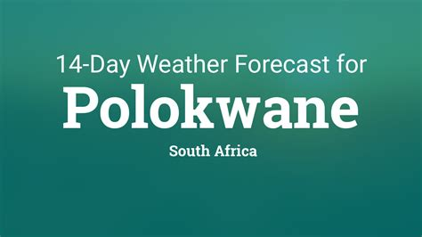Day high temperature +29° and low +18°. Polokwane, South Africa 14 day weather forecast