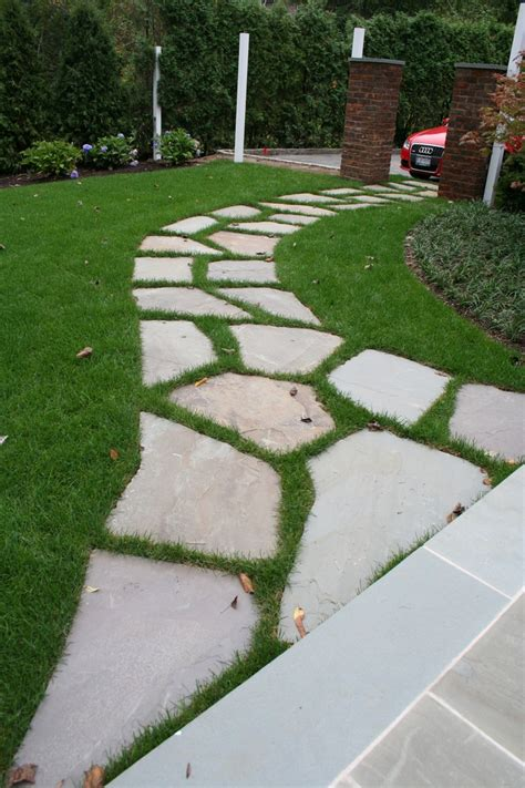 Lawn Patio by Irregular Bluestone Path Set In Lawn Irregularbluestone