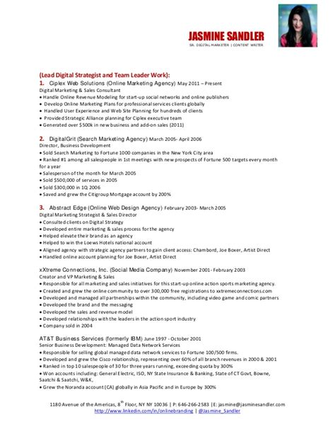 strategy consultant resume page 1 digital marketing