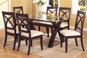 Dining table glass dining table sets 6 for Dining glass table set