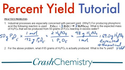 Percent Yield Tutorial Explained + Practice Problems  Crash Chemistry Academy Youtube