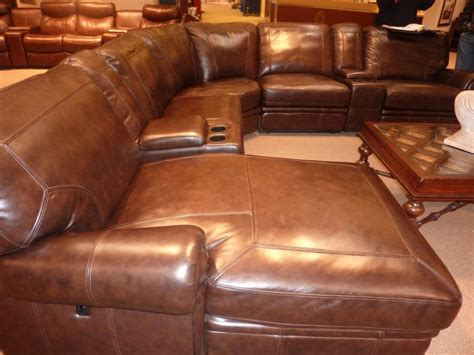 leather reclining sectional with chaise leather sectionals with recliners and chaise