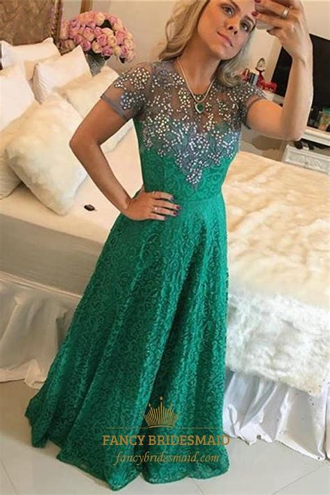 emerald green   jewel neck beaded short sleeve lace