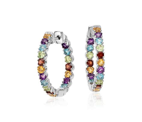 color hoop multicolored gemstone hoop earrings in sterling silver 2