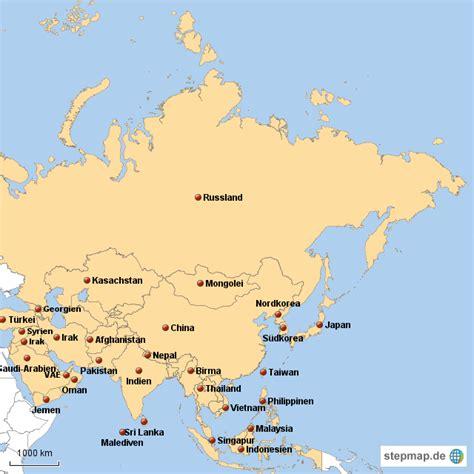 stepmap asienkarte fuer die schule landkarte fuer asien
