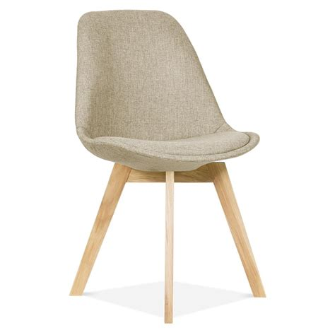 eames inspired beige upholstered dining chair with cross leg cult uk