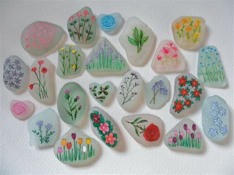 sea glass miniature paintings flowers beautifully