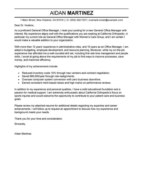 Resume Cover Letter General Manager by Best Admin General Manager Cover Letter Exles Livecareer