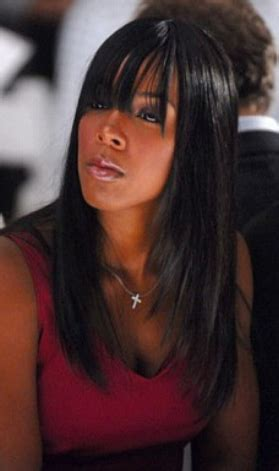 Sexy Straight Black Women Hairstyle With Long Bangs And
