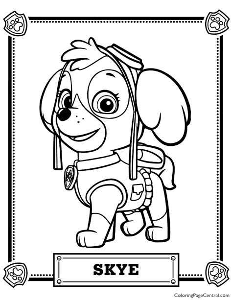 Paw Patrol Skye Coloring Page Coloring Page Central
