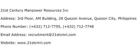 manpower phone number 21st century manpower resources inc address contact