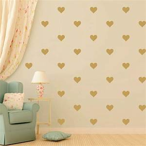48pcs gold heart shape vinyl wall decalremovable nursery for Cute gold heart wall decals