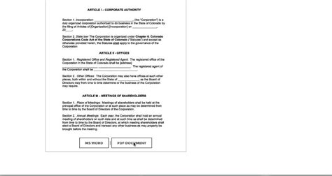 free colorado corporate bylaws template pdf word