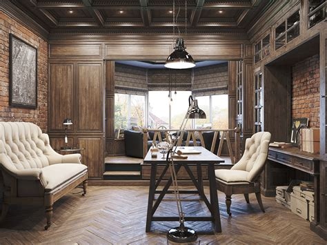 Vintage Office For A Private Residence / Denis Krasikov Best Diy Face Mask For Combination Skin Polished Concrete Floor Cost Easy Stained Floors Giant Letter Standee Watercolor Thank You Cards Patio Fire Pit Table Wood Closet Shelf Life Hacks Wengie
