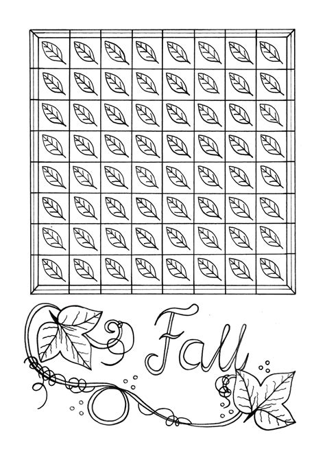 mindless fall leaves adult coloring page favecraftscom
