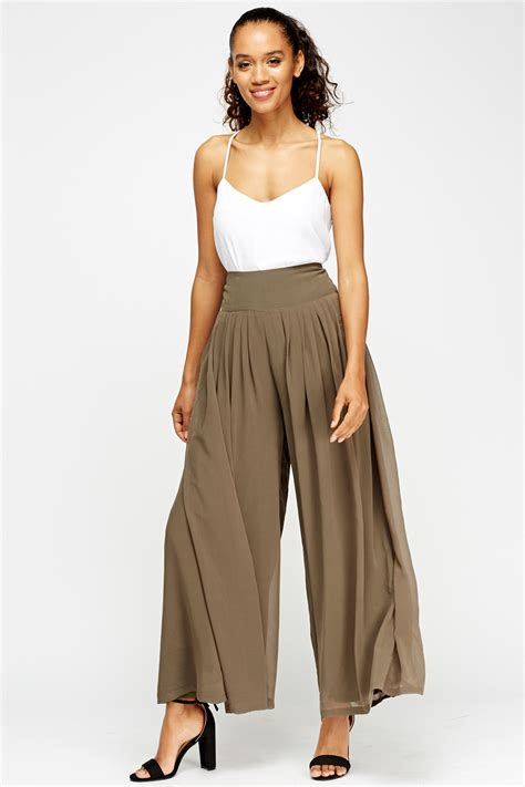 Frayed Wide Leg sheer wide leg trousers just 163 5