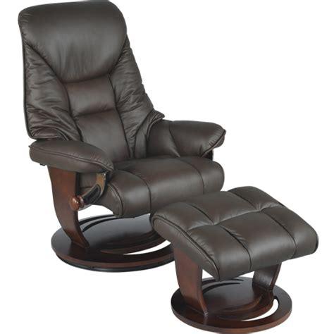 fauteuil de relaxation et pouf repose pied en cuir