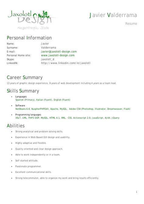 Php Developer Resume Doc by Resume Cv Senior Php Developer Javier Valderrama