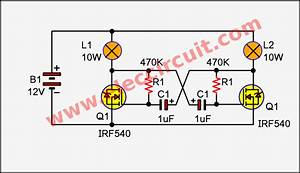 Simple 2 Lamp Flasher Circuit Using Mosfet