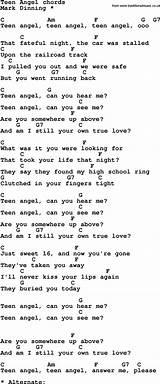 Lyrics for teen angel