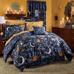 celestial sun moon star space 8pc queen size comforter sheet bed in a bag set on the hunt
