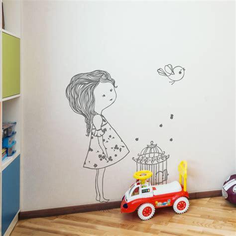 sticker mural chambre fille stickers muraux chambre enfant l 39 oiseau et la fille