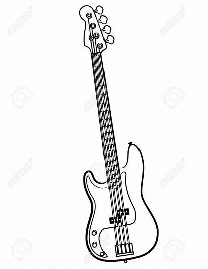 Guitar Bass Electric Simple Line Drawing Coloring