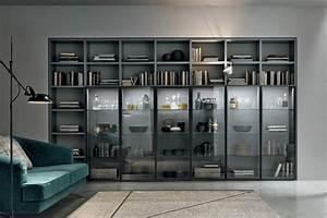 Libreria Modulare A053 Con Elementi Vetrina Illuminati A Led
