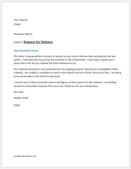 request letter  delivery  material word excel