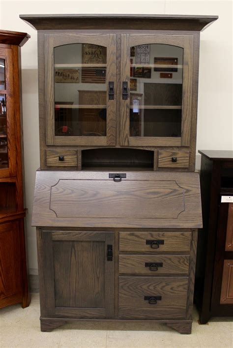 deluxe mission secretary desk with hutch top amish