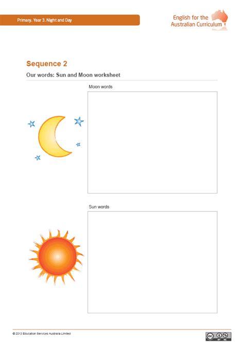 sun   moon worksheets worksheets