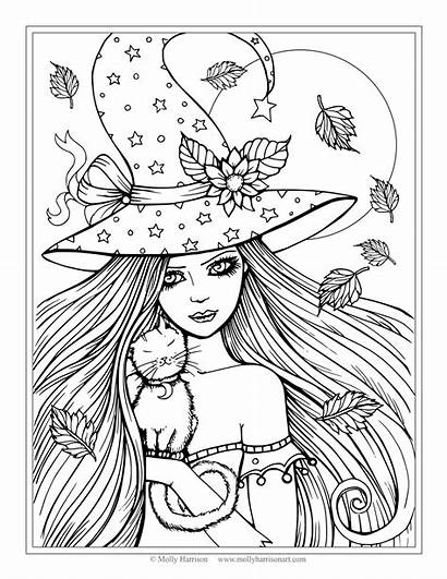 Coloring Cat Princess Pages Fairy Witch Halloween