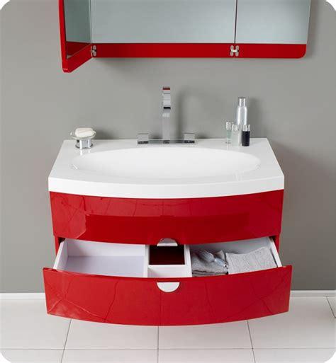 "Fresca Energia 36"" Red Modern Bathroom Vanity With Three"