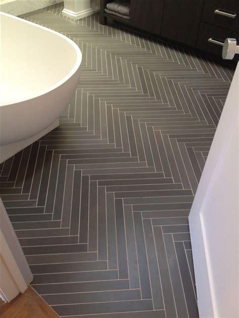 Amazing herringbone slate tile treatment in bath   Home