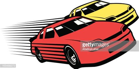 Red And Yellow Race Cars Cartoon Vector Art