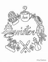 Coloring Winter Tea Coffee Cup Relaxing sketch template